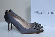 New sz 8.5 / 39 Manolo Blahnik Grey Hangisi Brooch Toe Jewel Heel Pump Shoes
