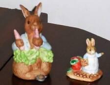 Schmid Bunny Rabbit Figurines 1990 Lights Up & 1993 Bunny with Basket