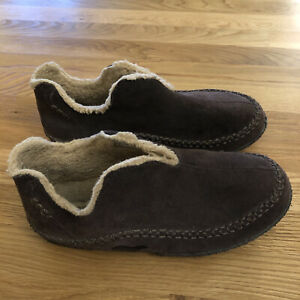 Sorel Manawan Brown Suede Leather Slippers Mens Size 11 House Shoes Fleece Lined