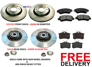 FOR PEUGEOT 2008 FRONT & REAR DISCS PADS REAR DISCS WITH WHEEL BEARING ABS RINGS