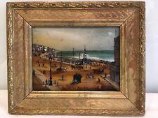 Antique Reverse Glass Picture With Mop Inlay Of Brighton Aquarium Seafront