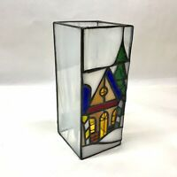 Handmade Stained Glass Winter Home Christmas Candle Holder Luminary
