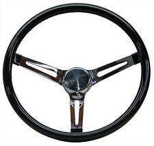 """Mooneyes Black Vinyl Steering Wheel 15"""" with slots in spokes Rat Fink rod Rat"""