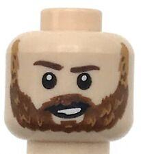 Lego New Minifigure Head Dual Sided Male Reddish Brown Eyebrows with Beard