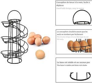 Egg Holder Spiral Helter Skelter Egg  Stand Rack Storage Holder 18 Eggs Black