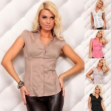 V Neck Cap Sleeve Formal Tops & Shirts for Women