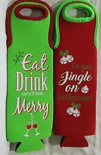 New listing 2 Christmas Wine Gift Bottle Protector Carrier Holder Insulated Green Red