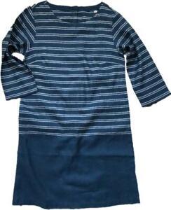 NEW Seasalt Hendra Vean linen Blend blue Striped Tunic Dress Sz 8/22 RRP: £65