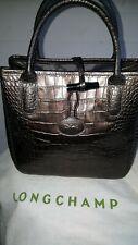 Sac a main vintage cuir longchamp roseaux gris irisé façon croco + dust bag.