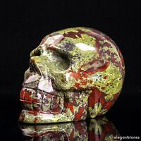 1005g Large Natural Dragon Blood Stone Quartz Crystal Hand Carved Skull Healing