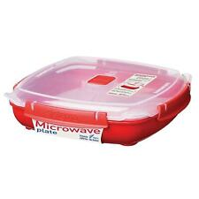 Sistema Microwave Plate with Lid & Removable Steaming Tray, Red - Large - 1.3L