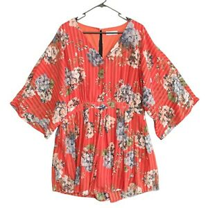Divine Avenue Womens Orange Floral V-Neck Kimono Short Sleeve Romper Size 16