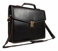 Mens Womens Quality Faux Leather Documents Business Briefcase Work Satchel Bag