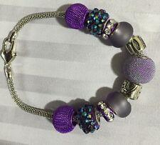 """7"""" - Purple/Blue Charm Bracelet/Beaded Silver -"""