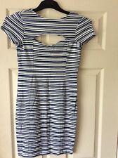 Asos - Blue/White Striped Dress with Cut-out Front - Size 10 - BNWOT