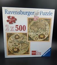 RAVENSBURGER 2 Puzzles Historical World Map 1665 Extra Format 2x500 Square 50x50