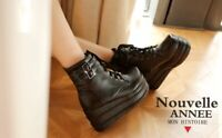 Ankle Boots Punk Biker Lace Up Platform Shoe Womens Cosplay Style Round Toe Hot