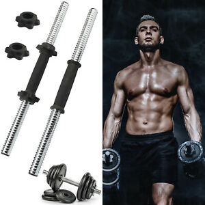 "18"" Chrome Dumbbell Bar Handle Weight Lifting Spinlock Collar Gym Fitness Set"