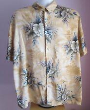 VTG Mens CROFT&BARROW Dark Yellow Multi Floral Hawaiian Shirt Size Large  (y25)