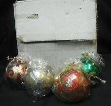 Set of Four Franklin Mint Hand-Painted Christmas Ornament Candles