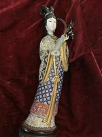 "Vintage Chinese Cloisonne Female Figurine. Carved Face & Hand. 12.5"" #2"