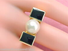 ANTIQUE RETRO 9mm CULTURED PEARL ONYX INLAY 18K GOLD HIGH SITTING RING 1940 RARE