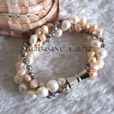 "8"" 4-9mm White Pink Gray Baroque 3Row Freshwater Pearl Bracelet UE"