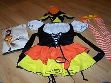 Adult Juniors Size XS Kandy Korn Candy Corn Sexy Witch Costume Hat Stockings New