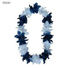TWO Hawaiian Silk Flower Lei Party Hula Wedding White w/ Navy Blue QTY 2 LEIS