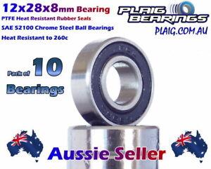 12x28x8mm RC Bearings (10) High Grade Precision PTFE Rubber Seals