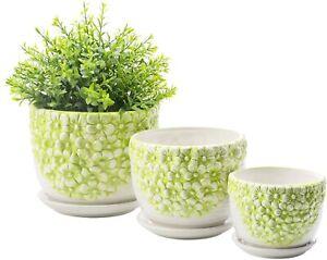 Green & White Embossed Flower Design Nesting Ceramic Planter Pots, Set of 3