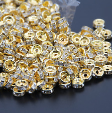 100pcs/lot 8mm white Crystal Rondelle Spacer Mental Gold Plated DIY Beads