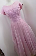 Vintage Pink 1970's Prom Bridesmaid Dress Gown Gathered Front Flower Back HC