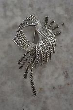 VINTAGE 1950s SPHINX signed silver and marcasite spray brooch large