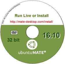 Ubuntu Mate 16.10 Linux O/S 32 bit Desktop Live/Install DVD + LibreOffice & more