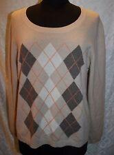 Charter Club Cashmere XL Womens Sweater Argyle Round Neckline
