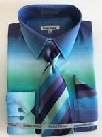 Men's Daniel Ellissa Aqua/Green Two Tone Shaded Dress Shirt Reg Cuffs DS3795P2