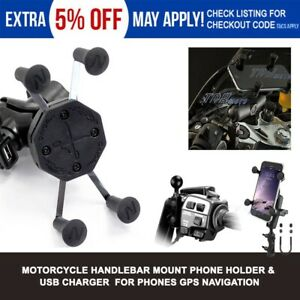 Motorcycle X Mount Cradle Holder Stand USB Charger for Mobile Smart Cell Phone