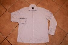 Turtle Tailored Men's White Red Striped Dress Shirt M Medium 15 3/4 Long Sleeve