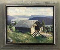 Holzhütte Speicher am Fjord Norwegen Norge 1931 Ölgemälde signiert 52 x 62 cm