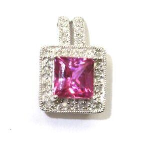 10k white gold .18ct diamond created pink sapphire pendant 2.1g vintage estate