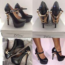 My Used ZIGINY Black Mary Jane Platform Heels w/ Gold skull & Chain Size 7