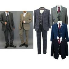 Boys Wool Mix Suits Creon Previs 3 Piece Tweed Cavani Blazer Waistcoat Trouser