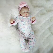 "22"" Silicone Vinyl Reborn Baby Dolls Lifelike Cute Girl Doll Accompany Toys Gift"
