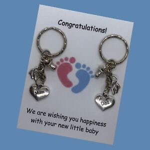 Mum Dad to be pregnancy charm keyrings baby shower gift card gift expecting born