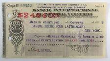 Banco Internacional De Industria Y Comercio Madrid Vintage Bank Check NY 1927