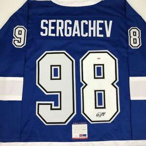 Autographed/Signed MIKHAIL SERGACHEV Tampa Bay Blue Hockey Jersey PSA/DNA COA