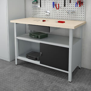 Werkstatteinrichtung Werkbank Werkzeugschrank Werktisch Werktstatt Metall Grau
