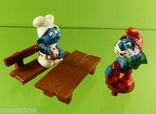 Lot SCHTROUMPFS ALCHIMISTE et CUISINIER + BANC SCHLEICH Smurf 2 figures PITUFO