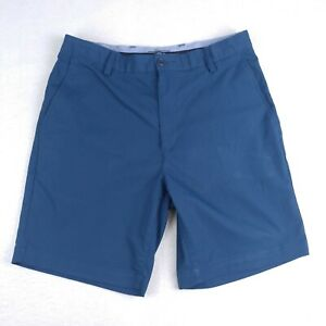 Land's End Mens 34 Golf Chino Shorts Navy Blue Casual Flat Front Polyester